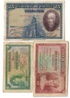 Spain Lot 3 Old Banknotes - [ 2] 1931-1936: Republik