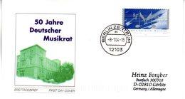 """BRD Schmuck-FDC  """"50 Jahre Deutscher Musikrat"""", Mi. 2380 Selbstklebend ETSt 8.1.2004 BERLIN ZENTRUM - BRD"""