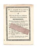 D 696. JOANNA-FRANCISCA REYNEKINCK  -overleden Te GEND Den 30 December 1833 (26j.) - Devotion Images