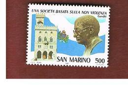 SAN MARINO - UNIF. 1215  - 1987  GANDHI: LA NON VIOLENZA   -    MINT** - Saint-Marin