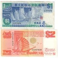 Singapore Lot Set 1 & 2 Dollars 1987-1990 - Singapour