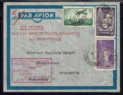 """FR - 1937 """"1er Service Aérien Air Afrique France Madagascar"""" N° 309 + 338 + PA 8 Sur Enveloppe De Paris Pour Tananarive. - Air Post"""