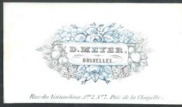 Carte Porcelaine D. Meyer Bruxelles Rue Des Visitendines N°7 Près De La Chapelle    8,5 X 5 Cm - Petits Métiers