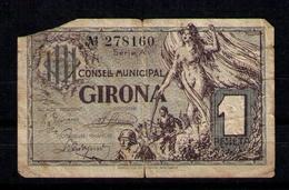 BILLETE  DE PUEBLO GIRONA DE 1 PESETA - [ 2] 1931-1936 : Repubblica