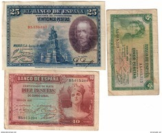 Spain Lot 3 Old Banknotes - [ 2] 1931-1936 : Repubblica