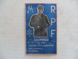 (Finistère, 12 Juin 1949)- Général Charles De Gaulle à QUIMPER - Politique - R.P.F.* - Programme Gde. Fête Champètre.... - Programs
