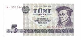 East Germany DDR 5 Mark 1975 AUNC - [ 6] 1949-1990 : GDR - German Dem. Rep.