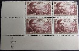 R1947/19 - 1939 - POUR LES CHÔMEURS INTELLECTUELS N°437 BLOC TIMBRES NEUFS** CdF Daté - Cote : 60,00 € - Coins Datés