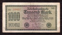 134d * REICHSBANKNOTE * 239417  * EIN TAUSEND MARK/1000 * GEBRAUCHT ** !! - [ 3] 1918-1933 : Weimar Republic
