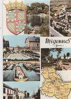 MIGENNES (89). Souvenir De ... Carte De Département, Blason Et 6 Vues Dont Pêniches - Migennes