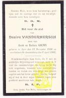 DP Désiré VanderMersch / Gouwy ° Ieper 1826 † Sint-Amandsberg Gent 1902 - Images Religieuses