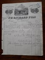 Ancienne Facture. Chambery. Vermout Et Absinthe Superieure De Savoie.P.H Richard Fils. 1897 - France