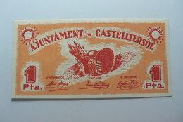BILLETE DE PUEBLO DE CASTELLTERSOL DE 1 PESETA - Sin Clasificación