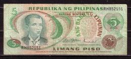 127d * REPUBLIKA NG PILIPINAS * 5 PISO 1949 * STARK GEBRAUCHT ** !! - Philippinen