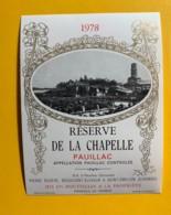 9845 - Réserve De La Chapelle 1978 Pauillac - Bordeaux