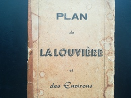 VIEUX PLAN DE LA LOUVIÈRE ET ENVIRONS  PAPIER JAUNI  COLLECTIONS CARTES PLAN DE VILLE - Planches & Plans Techniques