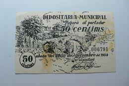 BILLETE DE PUEBLO DE CALDES DE MONTBUI DE 50 CENTIMOS - [ 2] 1931-1936 : Repubblica