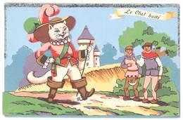 Cpa Fantaisie - Le Chat Botté  ( Ajoutis Paillettes, Personnages En Découpis ) - Fancy Cards
