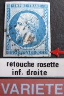 """R1917/21 - NAPOLEON III N°14B - Cachet AMBULANT """" LM 2° """" - VARIETE ➤➤➤ Retouche Rosette Inf. Droite - 1853-1860 Napoleon III"""