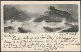 Storm At Mount's Bay, Penzance, Cornwall, 1902 - Tuck's Postcard - St Michael's Mount