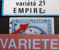 R1917/22 - NAPOLEON III N°14B - LUXE - LPC - VARIETE ➤➤➤ Pied Très Allongé Du Dernier E De EMPIRE - 1853-1860 Napoleon III