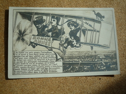 Carte Postale Ancienne Bonne Année Guignol En Aéroplane Survolant Lyon - Personnages
