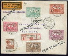 Indes Néerlandaises - 1929 - Série P. Aérienne N° 6 à 10 Sur Enveloppe Recommandée De Soerabaja Pour Den Haag - TB - - Indes Néerlandaises