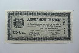 BILLETE DE PUEBLO DE SITGES DE 25 CENTIMOS - Sin Clasificación