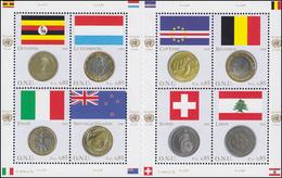 UNO Genf 553-560 Flaggen Und Münzen I 2006, Kleinbogen Mit Zwischensteg ** - Genf - Büro Der Vereinten Nationen