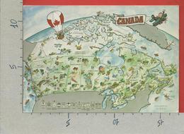 CARTOLINA NV CANADA - Cartina Geografica Disegnata E Animata - 12 X 17 - Carte Geografiche