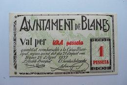 BILLETE DE PUEBLO DE BLANES DE 1 PESETA - Sin Clasificación