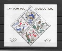 MONACO JEUX OLYMPIQUES MOSCOU 1980 - BLOC SPECIAL N° 11 ** MNH - LUXE ET RARE -COTE 385 EUR - Blocs