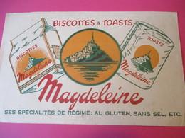 Buvard /Biscottes Et Toasts/MAGDELEINE/Au Gluten , Sans Sel/GRANVILLE/Manche / NORMANDIE/Vers 1940-60  BUV402 - Zwieback