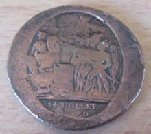 France - Monneron Daté Du 14 Juillet 1790 - Transformé En Médaille ? Revers Lisse - France