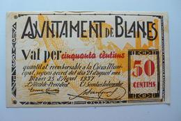 BILLETE DE PUEBLO DE BLANES DE 50 CENTIMOS - [ 2] 1931-1936 : Repubblica