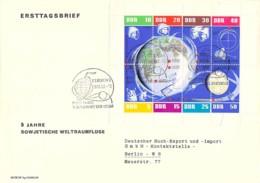 R DDR 1962 FDC Mi.Nr. 926-933 - Weltraum / Space Kleinbogen - DDR