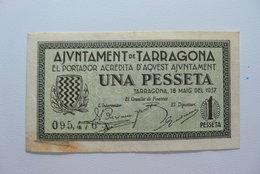 BILLETE DE PUEBLO DE TARRAGONA DE 1 PESETA - [ 2] 1931-1936 : Repubblica