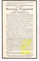 DP Hortensia Vermeersch ° Wenduine De Haan 1858 † 1937 X F. Weerbrouck Werbrouck - Images Religieuses