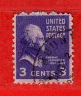 (Us2) USA °- 1938 - Série Courante, Présidents. T. Jefferson. 3 C. Yvert 372.   USED.  Vedi Descrizione - Stati Uniti