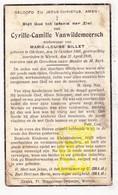 DP Cyrille C. VanWildemeersch ° Geluwe 1866 † Wervik 1939 X Marie L. Billet - Images Religieuses