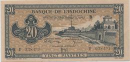 INDOCHINE  20 Piastres Nd(1942)  -- UNC -- - Indochina