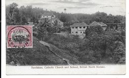 CPA PC British North Borneo Sandakan Catholic Church And School 1909 Malaysia - Malaysia