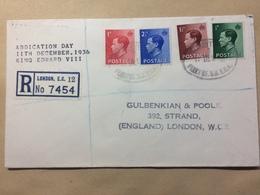 GB Edward VIII Abdication Day Cover Registered London - 1902-1951 (Könige)