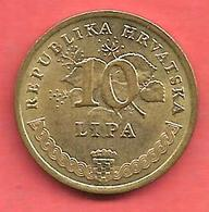 10 Lipa , CROATIE , Acier Plaqué Laiton , 2001 , N° KM # 6 - Croatie