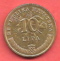 10 Lipa , CROATIE , Acier Plaqué Laiton , 2009 , N° KM # 6 - Croatie