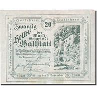 Billet, Autriche, Hallstatt, 20 Heller, Château, 1920, 1920-12-31, SUP+ - Autriche