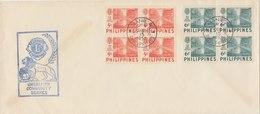 PHILIPPINES 1952 FDC Lion's Club With 2 Blocks Of 4.BARGAIN.!! - Filippijnen