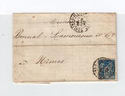 Sur Lettre AC Pour Nîmes Type Sage 15 C. Bleu CAD Moulins 1890.(1113x) - Marcophilie (Lettres)