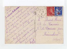 Sur Carte Postale Type Paix 90c. Outremer Surchargé 50 Et Type Mercure CAD Hexagonal Beille Sarthe 1941. (1114x) - Marcophilie (Lettres)