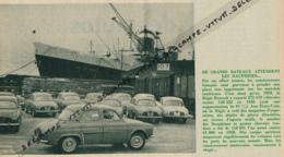Photo (1960) : La Dauphine, Renault, Exportation Des Voitures Vers Les Etats-Unis (10,5 Cm Sur 14 Cm) Cargos - Reclame